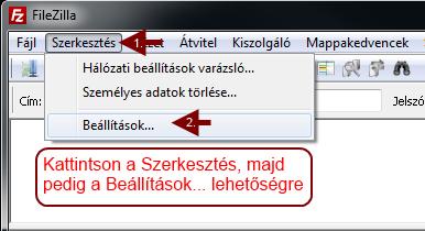 FileZilla Szerkesztés/Beállítások menü