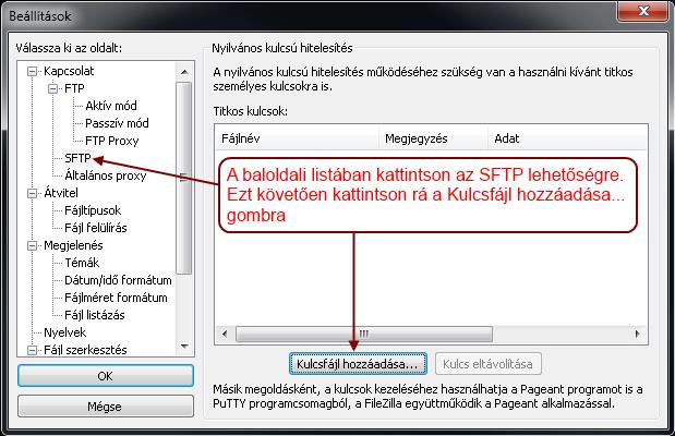 FileZilla beállítások menü