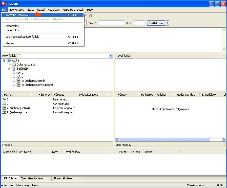 FileZilla nyitóképernyő