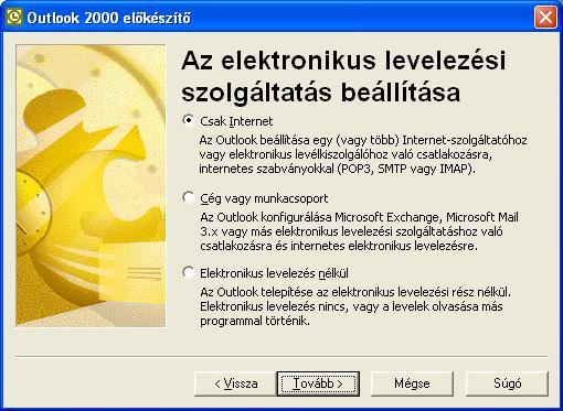 Outlook 2000 előkészítő - Az elektronikus levelezési szolgáltatás beállítása