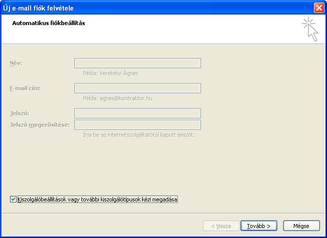 Új e-mail fiók felvétele - Automatikus fiókbeállítás