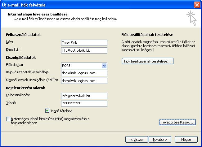 Új e-mail fiók felvétele - Internetalapú levelezés beállításai