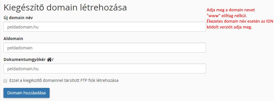 Kiegészítő domain név felvétele