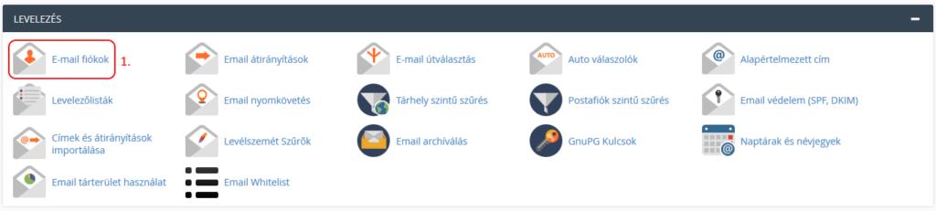 cPanel -> Levelezés -> E-mail fiókok