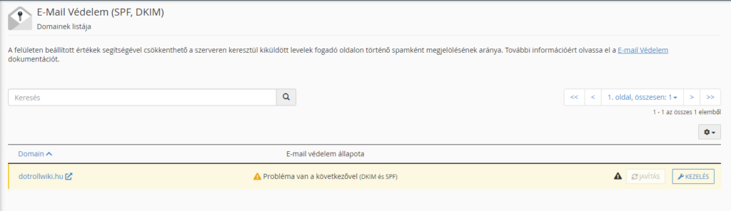 Email védelem(SPF,DKIM) kezelés