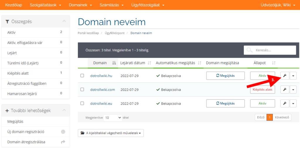 Domain név módosítása