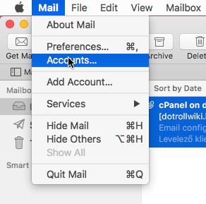 Mail / Accounts... menü