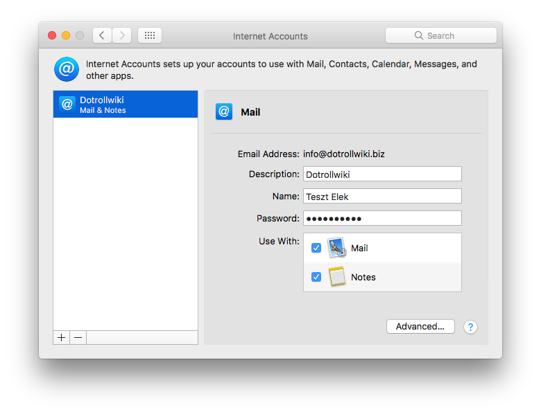 Internet Accounts - Mail setup