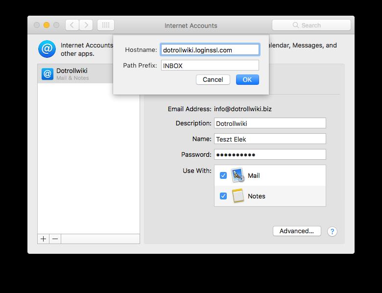 Internet Accounts - Mail setup - Advanced...