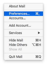 Mail / Prefetences... menü
