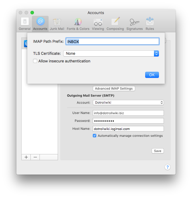 IMAP path prefix