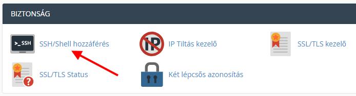 SSH/Shell hozzáférés menüpont
